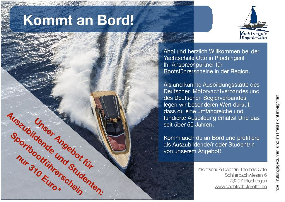 Flyer Angebot Yachtschule Otto