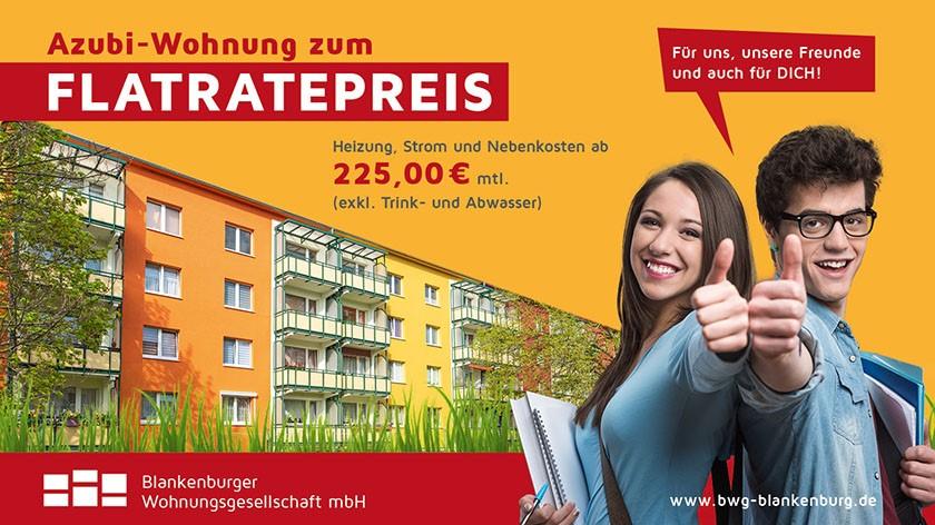 Angebot Flatratepreis 225,-€ - Blankenburger Wohnungsgesellschaft mbH