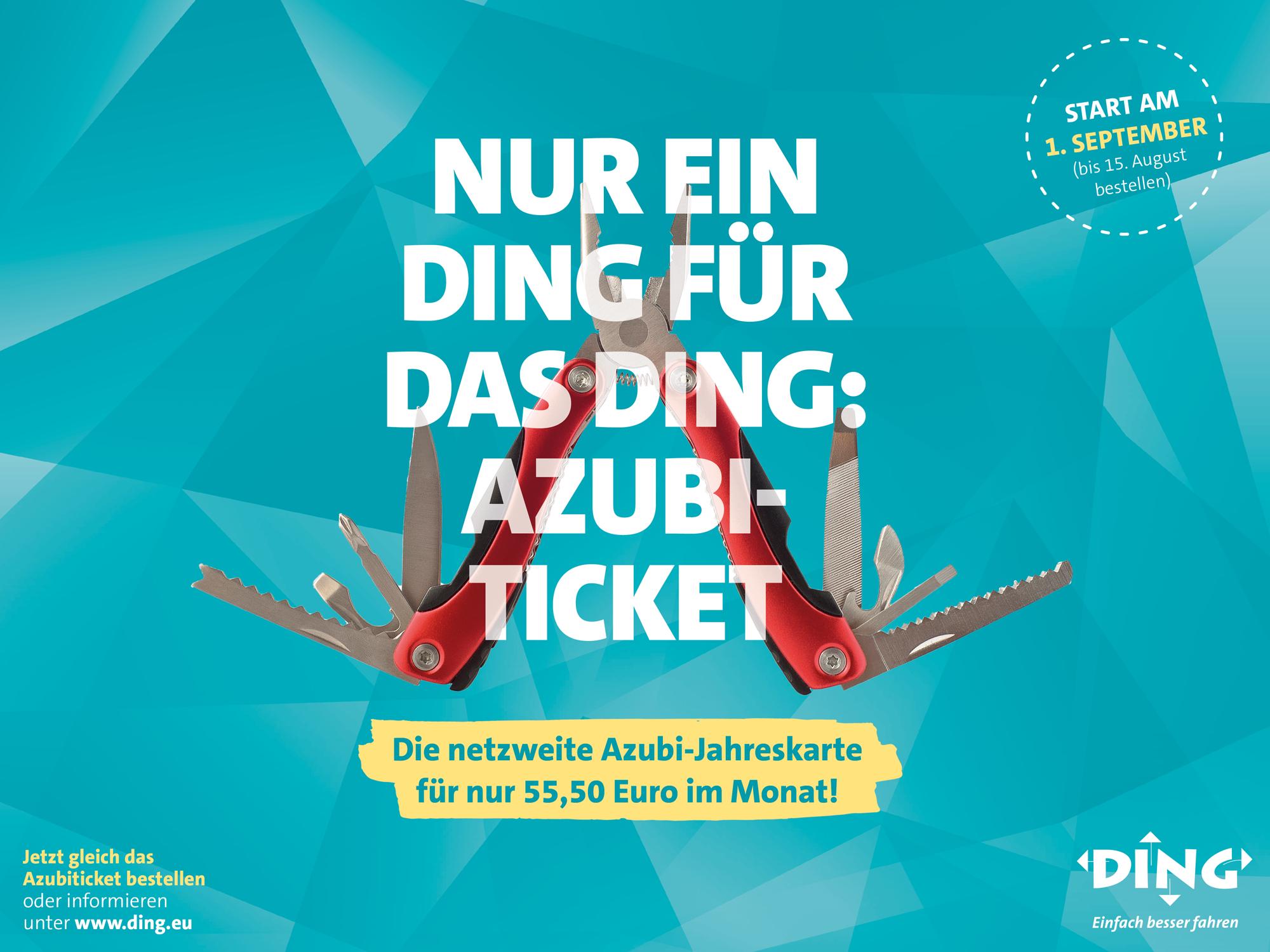 Ein rotes Multitool mit Werbeaufschrift für das Azubiticket. Bestellbar unter www.ding.eu