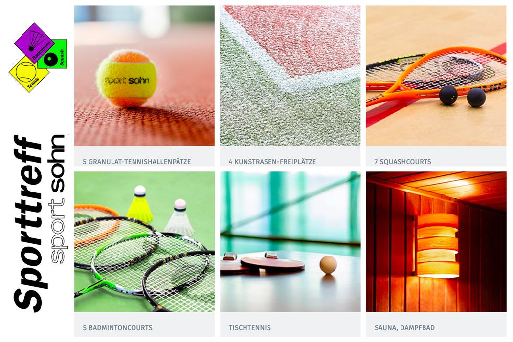 Bilder unterschiedler Sportarten. Tennis, Tischtennis, Badminton,Squash sowie ein Bild von einer Sauna
