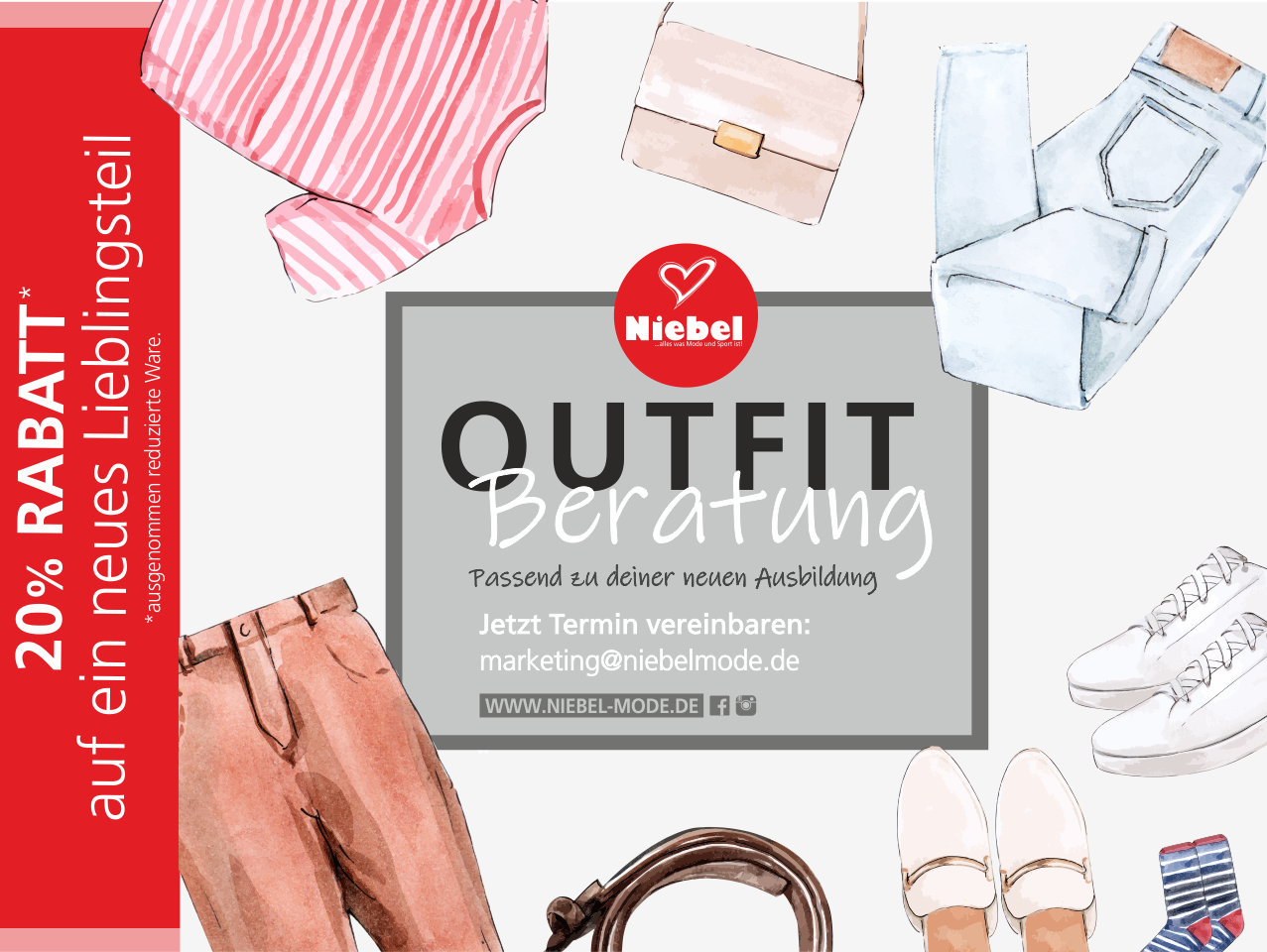 Eine Werbeanzeige der Niebel KG: 20 Prozent Rabatt auf Kleidung. Ausgenommen reduzierte Ware.