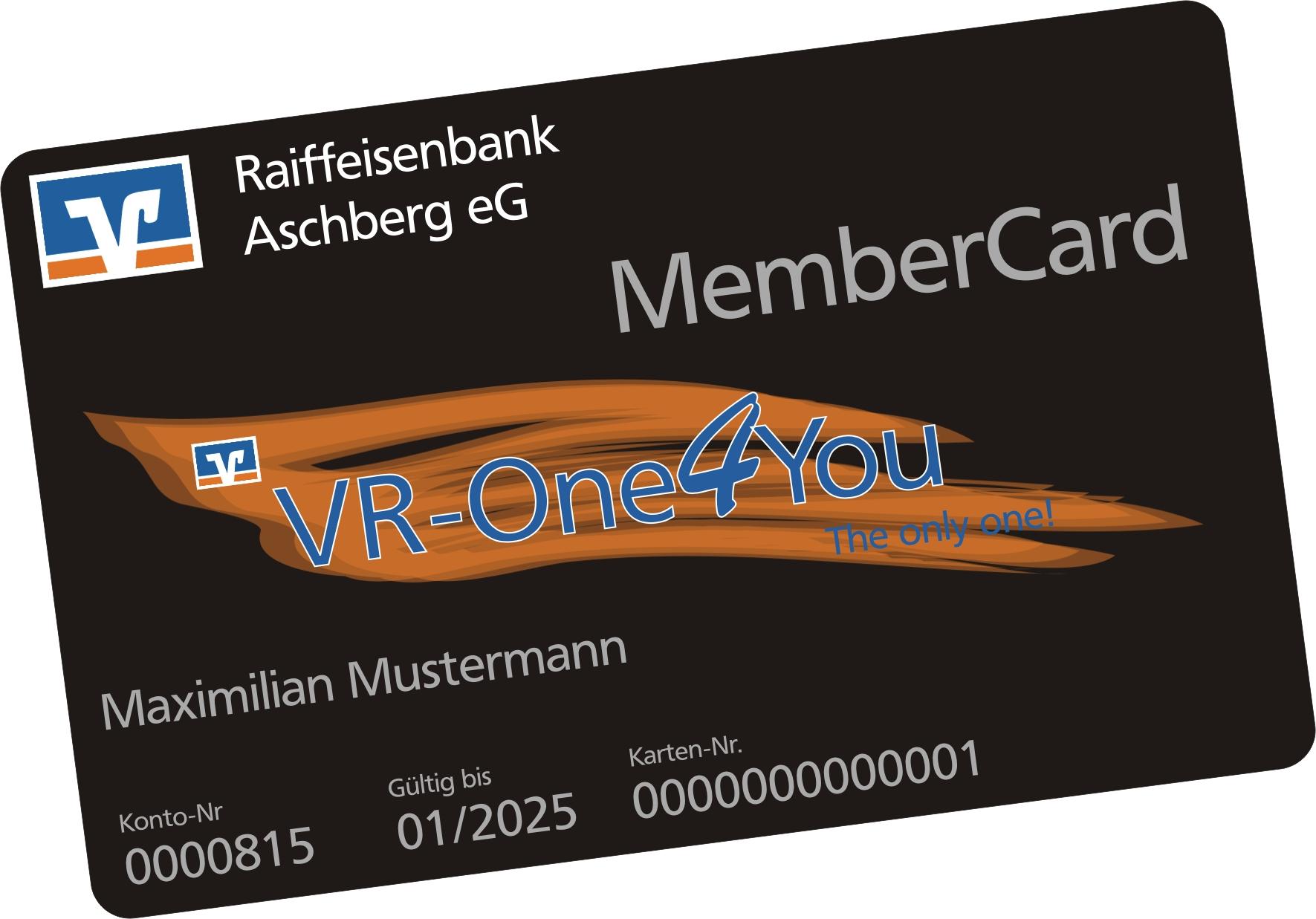 Ein Foto der MemberCard der Raiffeisenbank Aschberg eG